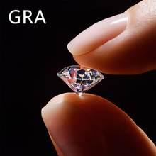 Gema de moissanita 100%, piedra suelta auténtica, 2ct, 8MM, Color D, VVS1, excelente corte para anillo de diamante con certificado GRA