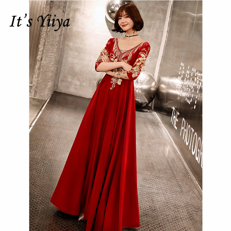 It's Yiiya Evening Dress 2019 Burgundy Vintage Embroidery Long Dresses Three Quarter Sleeve V-Neck Party Formal Dresses E1301
