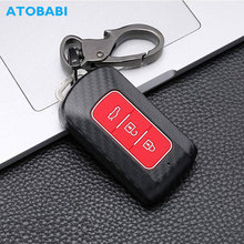 цена на Carbon ABS Plastic Car Key Cover For Mitsubishi Outlander Lancer L200 Pajero New 2 3 Buttons Keychain Smart Remote Protect Case