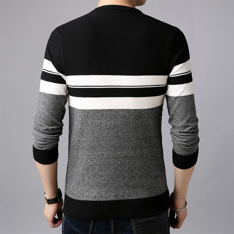 AIRGRACIAS 2019 Brand Casual Men Pullovers Knitted Striped Male Sweater Men Dress Thick Mens Sweaters Jersey Clothing Autumn New 1