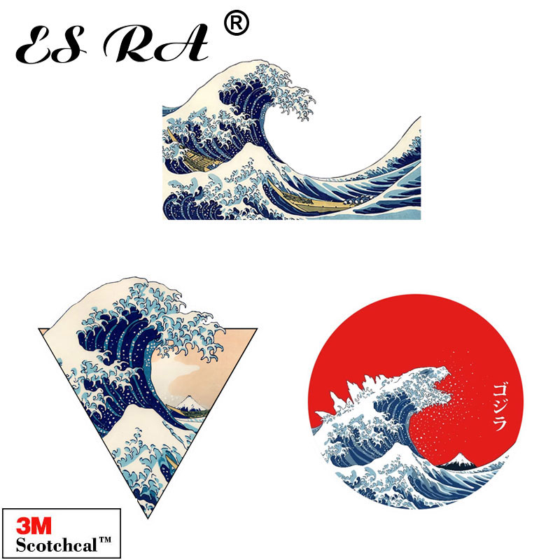 Vinyl Car Stickers Waterproof Japan  Ukiyoe Wave Laptop Decals  Pegatinas Matt Pitcher Fridge Skateboard Luggage Decorate