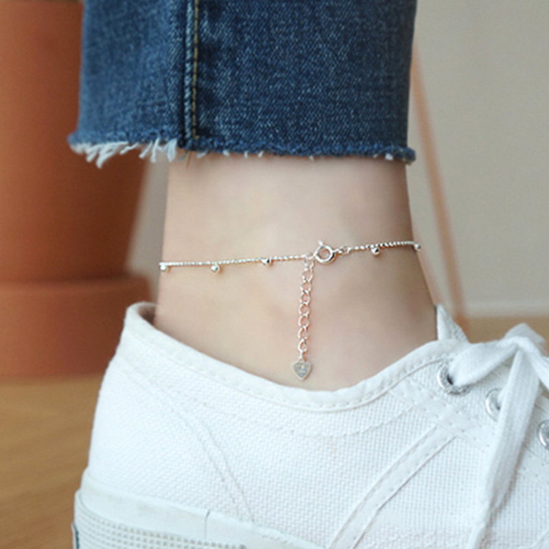 Trustdavis genuine 925 Sterling Silver Fashion Sweet Small Bell Anklets For Women Sivler 925 Jewelry Anklets Wholesale DS805 4