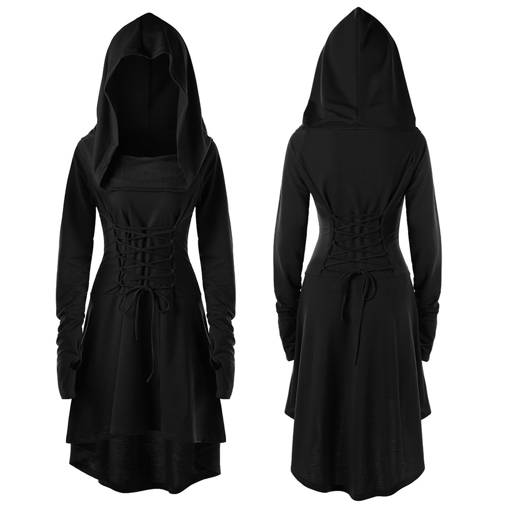 Women Dress Solid Lace Up Hooded Vintage Dress Ladies Halloween Costumes Punk Gothic Low Bandage Long Dress Cloak vestidos mujer
