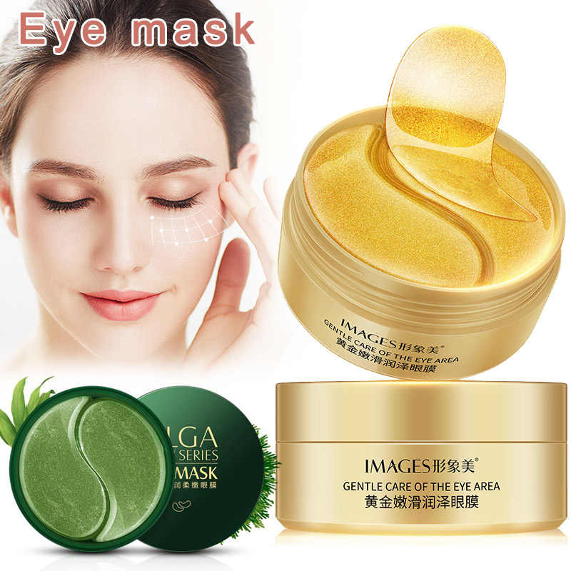 60 PCS GOLD/Zeewier/สีดำ PearCollageen Eye Mask Gezicht Anti-Aging Rimpel เจลแพทช์ Collageen Hydraterende Oog masker Oogzorg