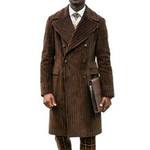 Winter Brown Corduroy Suits Custom Made Men Suits Double Breasted Tuxedos Peaked Lapel Blazer Business Long Coat