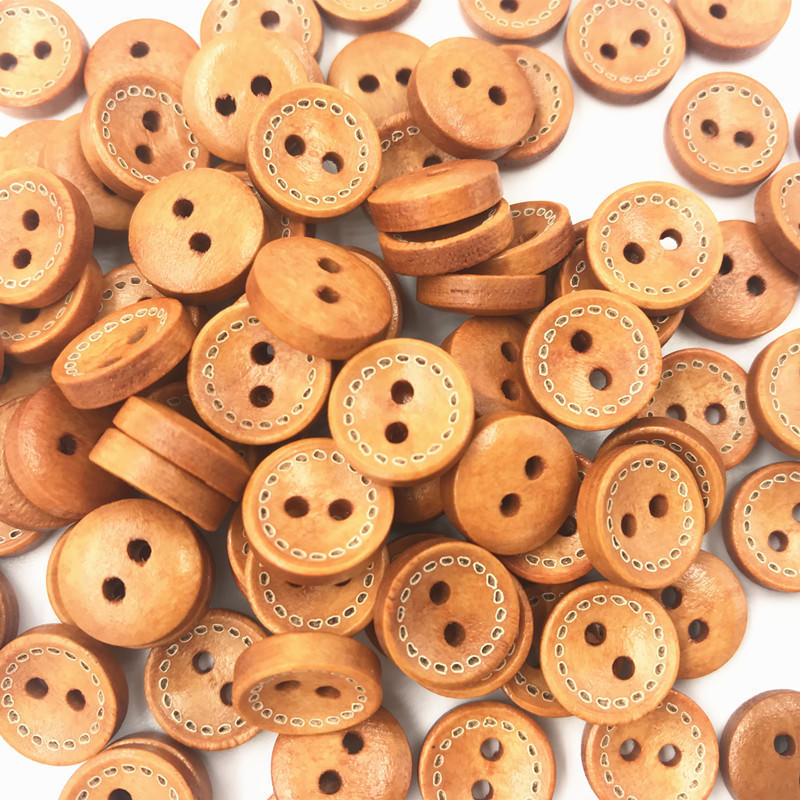 200 шт., деревянные круглые пуговицы, 12 мм