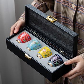 Jingdezhen Grilled Flower Kung Fu Tea Cup Gold Foil Court Style Single Teacup Enamel Color Set Teacups