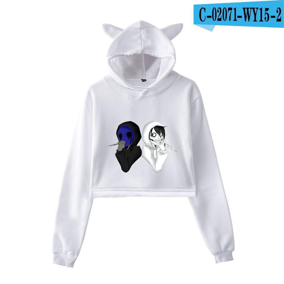 unique horror atmosphere of black humor creepypasta  print fashion trend Cat ears Top Women Hoodies Sweatshirt Sexy clothes 19