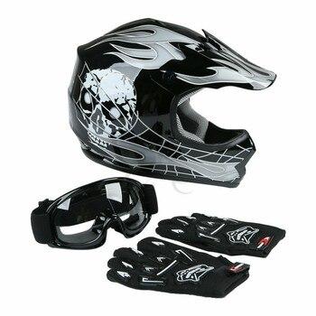 Motorcycle Youth Kids Helmet ATV Motocross Dirt Bike Black  Helmet w/ Goggles+Gloves S M L XL 2