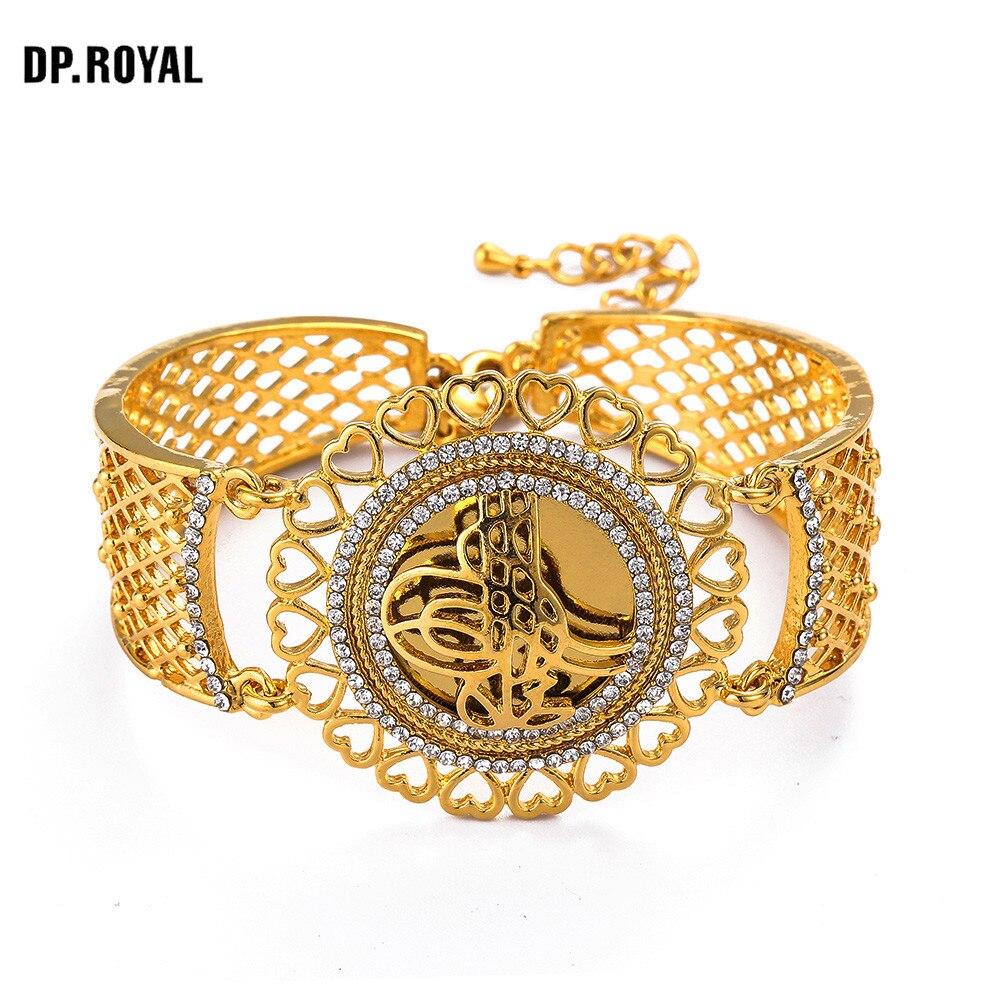 AAA Crystal Cuff Bracelet Indian Turkey Middle East Gold Bangle Muslim Islam Allah Bracelets Women Luxury Wedding Jewelry Gift