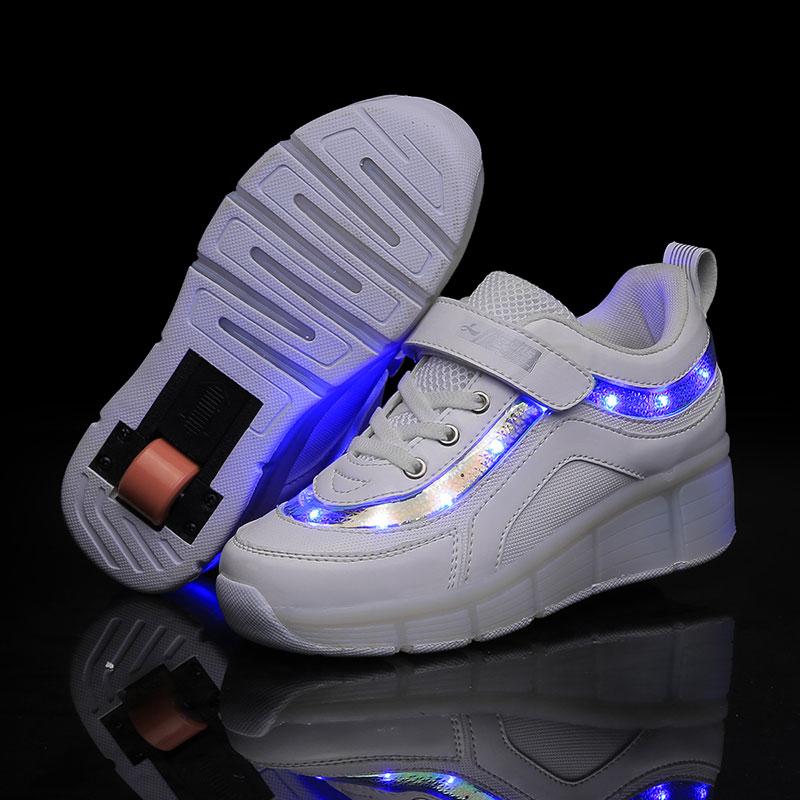 Children LED Light Sneakers Two Wheel Boys Girls Roller Skate Casual With Roller Kids Girl Sport Shoes USB Charging White