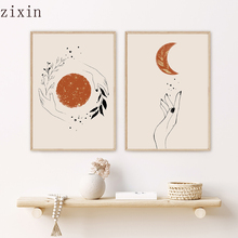Abstract Mystic Hand Sun and Moon Scene Boho Canvas Prints Painting for Living Room Home Decor No Frame Wall Art Picture Posters