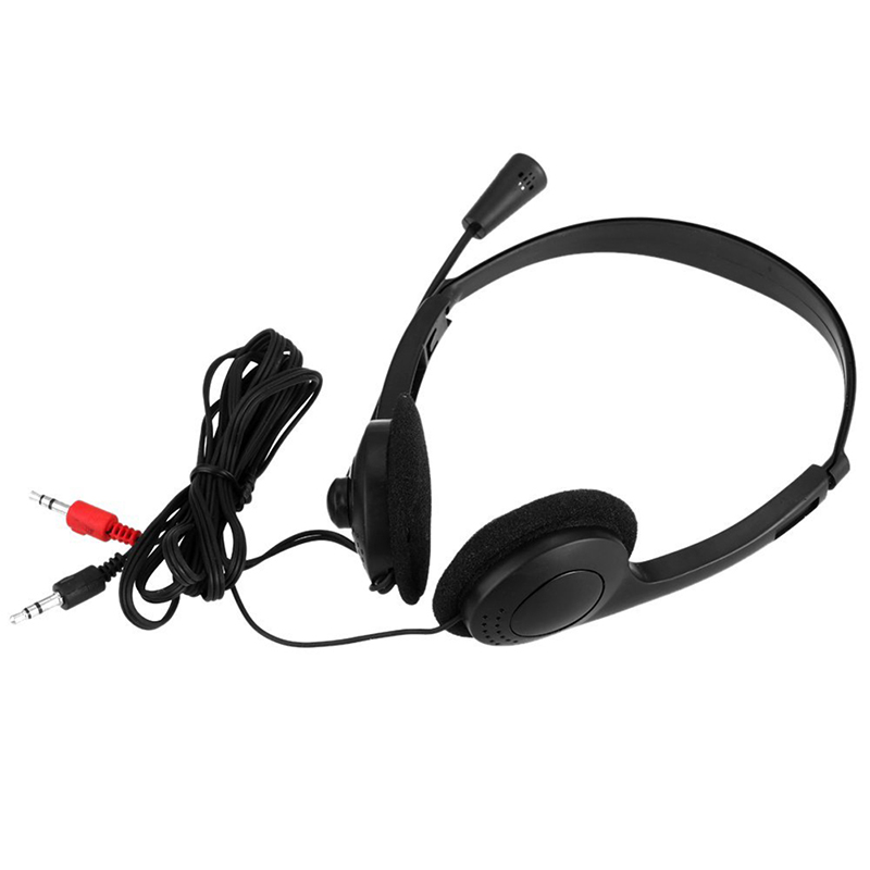 3.5mm Wired Headset <font><b>Earphones</b></font> Heavy Bass Sound Noise Stereo Earbuds <font><b>Microphone</b></font> Adjustable Headband For Computer Laptop image