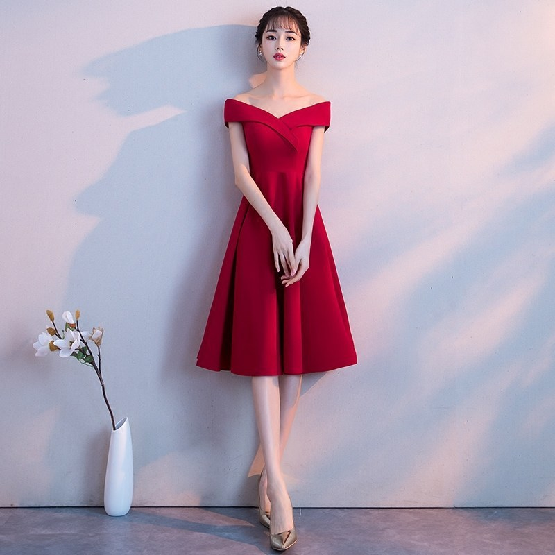 Vestido Cocktail Tall Waist A Toast To The Bride Code Block Belly Married Word Shoulder Brief Paragraph Small Evening Dresses