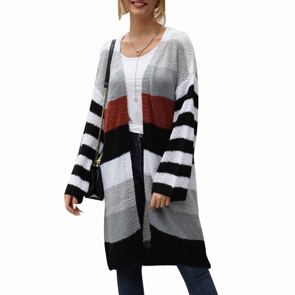 2019 Wanita Rajutan Pelangi Cardigan Blok Warna Panjang Drape Merajut Sweater Wanita Fashion Panjang Drape Merajut Sweater Musim Gugur