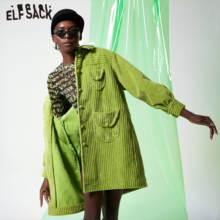 ELFSACK الأخضر الصلبة واحدة الصدر خندق معطف المرأة 2019 الخريف الشتاء خاص جيب Bishop كم مكتب السيدات خارجية