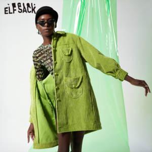 Image 1 - ELFSACK verde sólido de un solo pecho Trench Coat mujeres 2019 otoño invierno Especial bolsillo obispo manga Oficina señoras Outwears