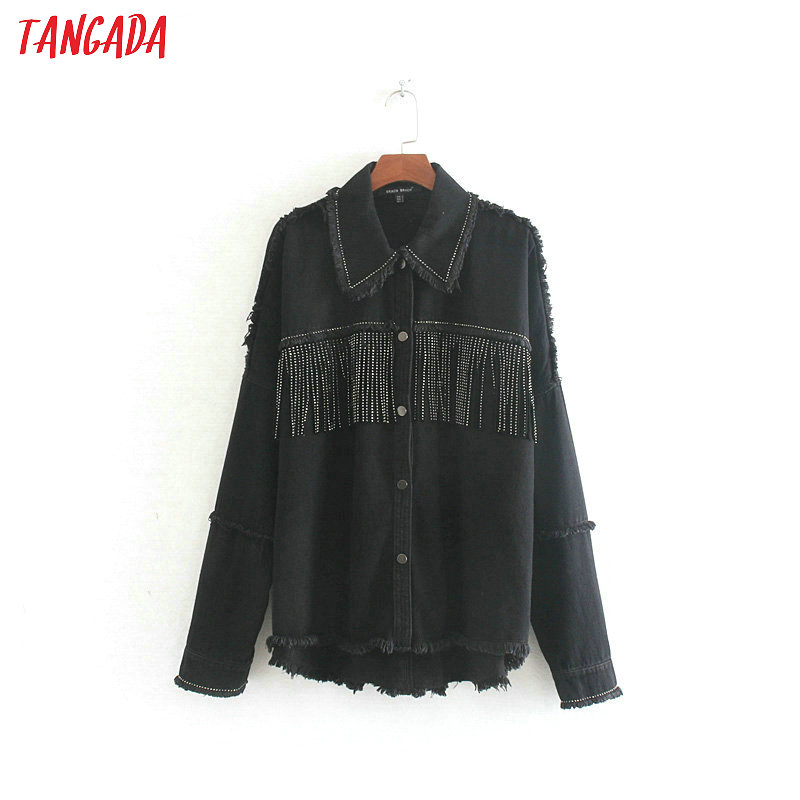 Tangada Women Fashion Oversized Black Jackets Tassels  2019 Autumn Winter Turn Down Collar Coat Ladies Streetwear Tops CE460
