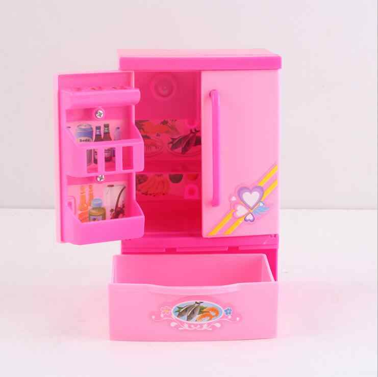 Fashion Mini Aksesoris Lemari Es untuk Boneka Barbie Rumah Furniture Dapur Kulkas Bermain Set 1/6 BJD Boneka Aksesoris