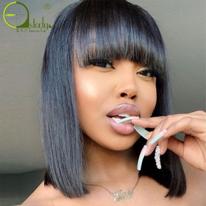 Sterly Straight Bob Human Hair Wigs With Bang Brazilian Remy Human Hair Bob Wig With Bangs No Lace Full Machine Made Wigs(China)