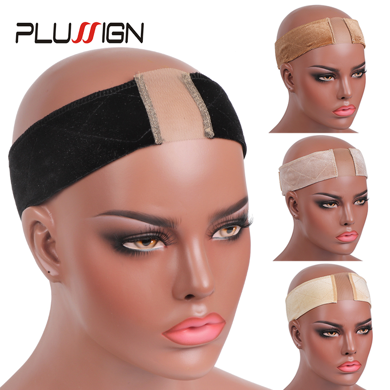 Plussign New Lace Wig Grip Velvet Comfort Wig Band For Lace Wigs Frontals Headband With Adjustable Velcro Fastener Grip Headband