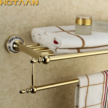 Stainless Steel Wall Mounted Gold Color Bath Towel Rack Active Bathroom Towel Holder Double Towel Shelf Bathroom Accessories