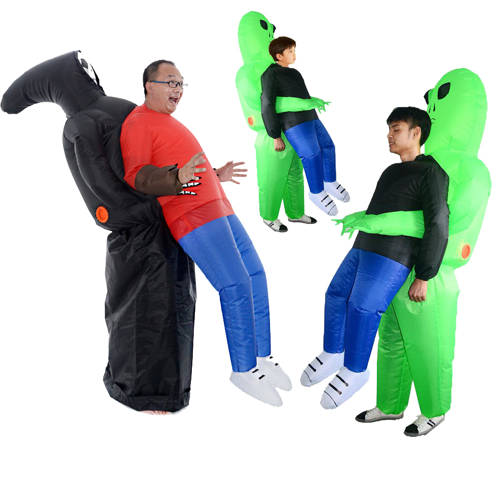 2019 New Inflatable Costume Green Alien Adult Kids Funny Blow Up Suit Party Fancy Dress Unisex Costume Halloween Costume