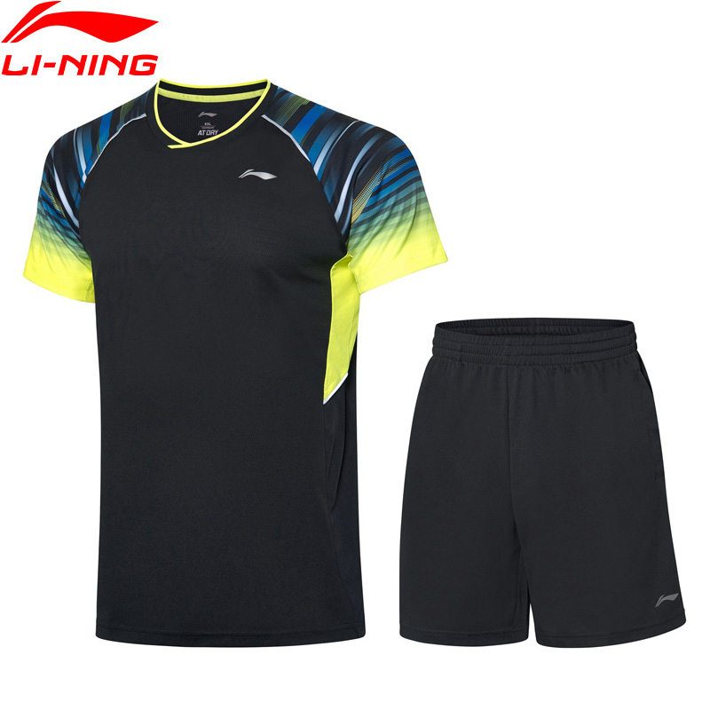 Li-Ning Men Badminton Competition Suits AT DRY Breathable 89% Polyester 11%  Spandex LiNing Sports T-Shirt+Shorts AATP043 MSY193