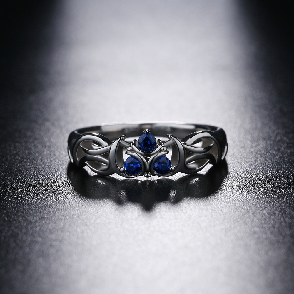 Image 3 - The Legend of Zelda Crystal 925 Sterling Silver Zora Zoras Sapphire Ocarina of Time Engagement RingRings