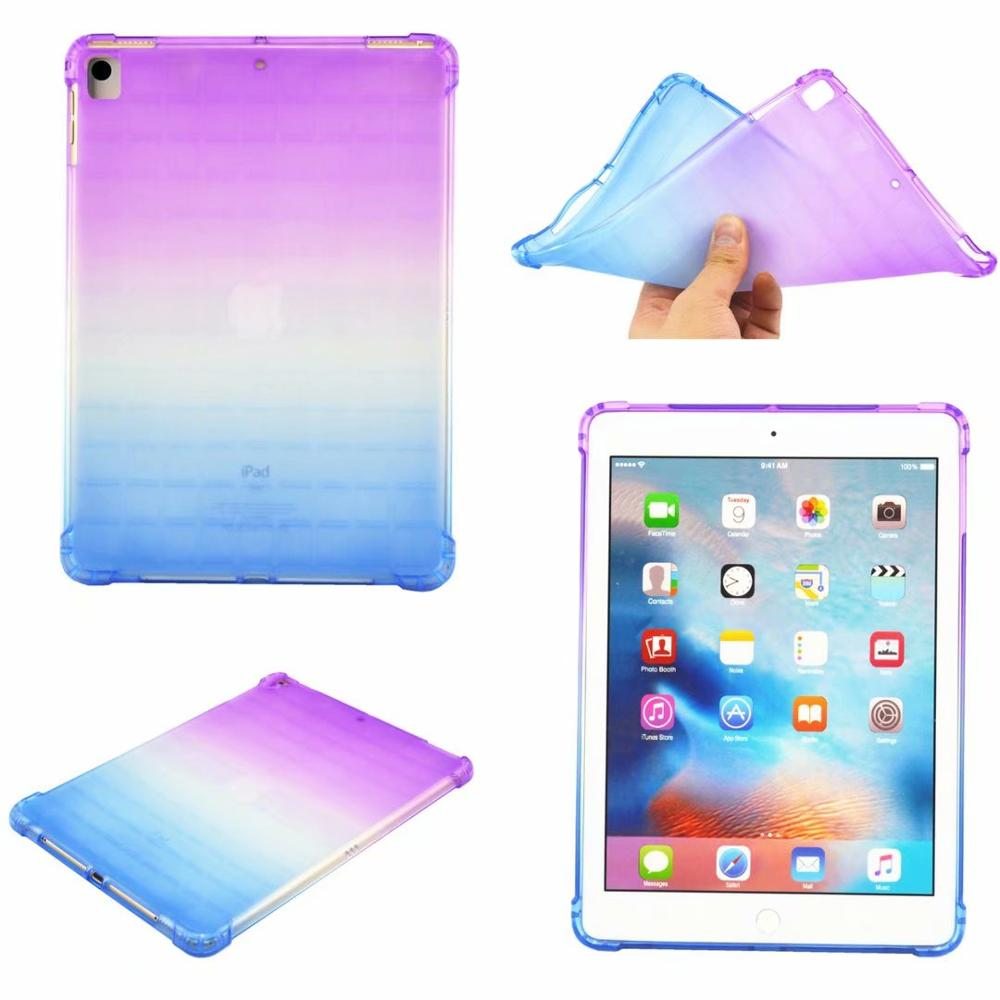 Purpue-Blue Beige High Duty Coque for iPad 10 2 Case Shockproof A2200 A2198 A2233 Soft Silicone TPU Gradient