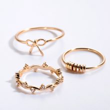 QIMING 3 шт./лот 2018 красивые кольца женские золотые очаровательные ювелирные изделия с бантиком дизайн кристаллы подарок для любимой девушки н...