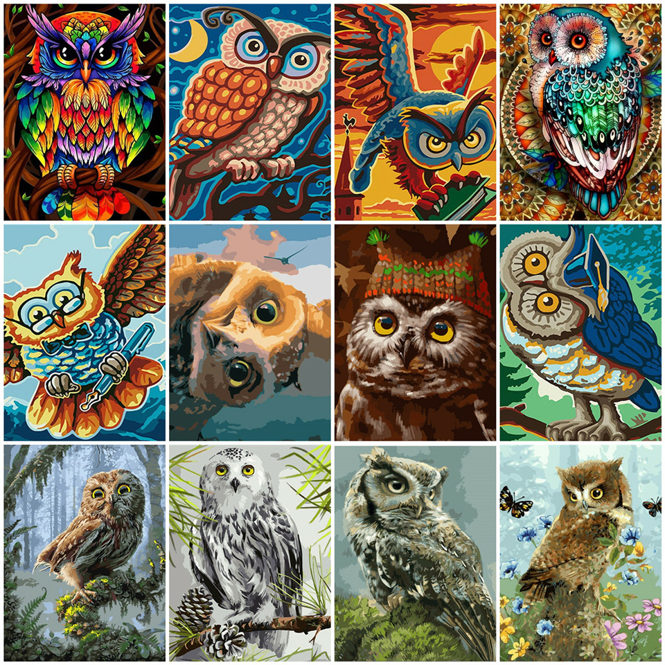 AZQSD Unframe Color Owl Animals Diy Painting By Numbers Kit Modern Wall Art Picture Acrylic Paint By Numbers For Gift 40x50cm