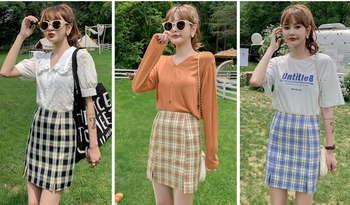 Plaid short skirt bag hip skirt 2020 summer new female student Korean version thin high waist a-line skirt 2019 korean version of the new skirt female was thin spring rivet high waist elastic waist black pleated skirt s xxl mini skirt