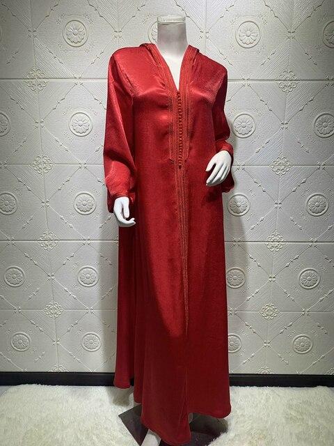 Siskakia Dubai Arabic Muslim Abaya Dress for Women Fall 2020 Champagne Moroccan Kaftan Hooded Robe Turkish Islamic Jalabiya 4