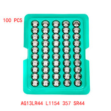 100% 100pcs capacidade LR44 AG13 L1154 357 SR44 Relógios Bateria de Célula tipo Moeda 1.5V Alcalinas Baterias Botão Apropriado Para O Relógio