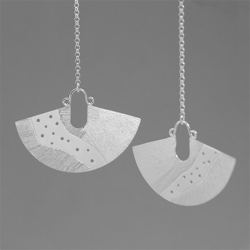 INATURE 925 Sterling Silver The Milky Way Fan Shaped Drop Earrings for Women Vintage Jewelry