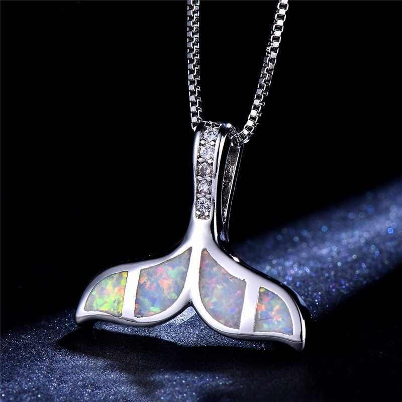 Красивая модная Русалка кулон Синий/Белый огненный опал ожерелье s для женщин КИТ хвост свитер ожерелье вечерние подарки