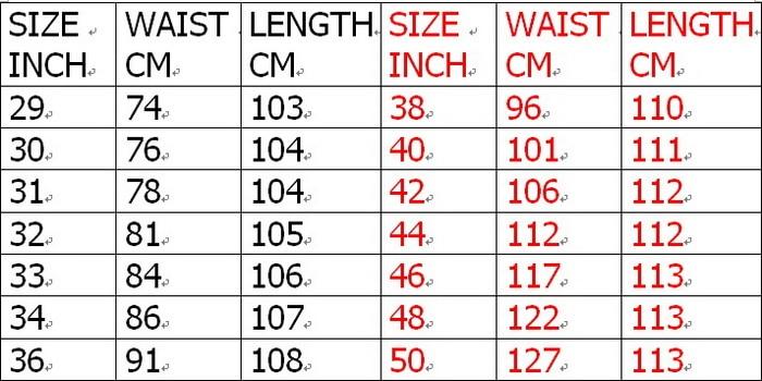 标准长裤 牛仔裤尺码表