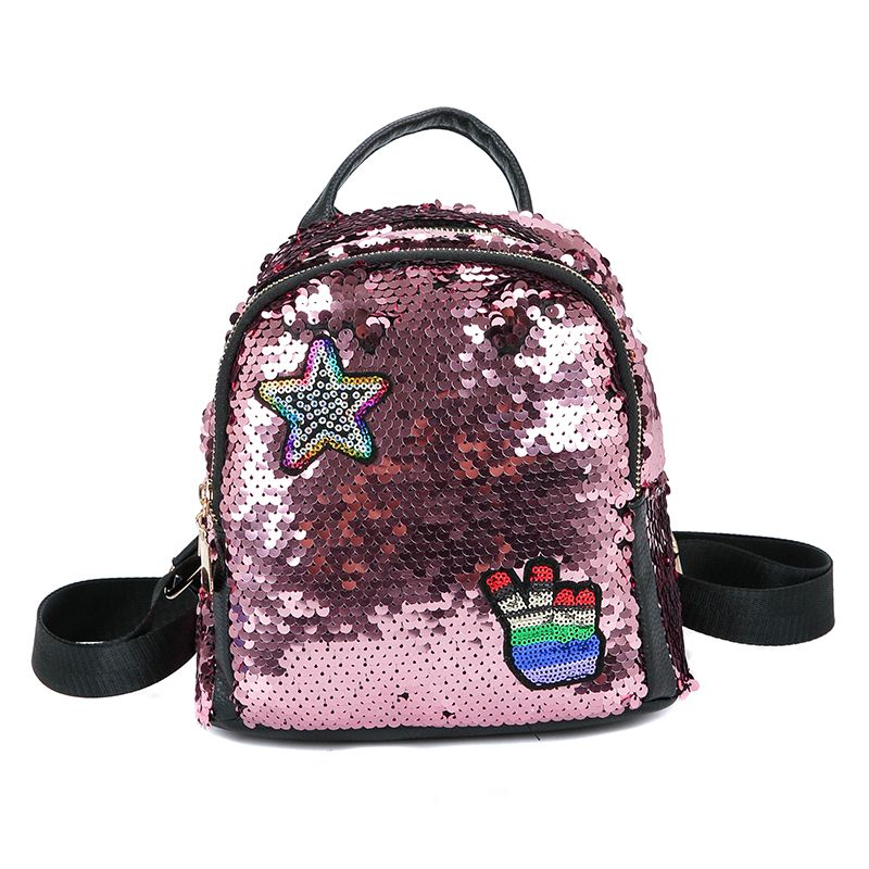 New Women Backpack School Bags For Girls Small Backpacks Female Travel Backpack Sequins School Backpacks in Backpacks from Luggage Bags