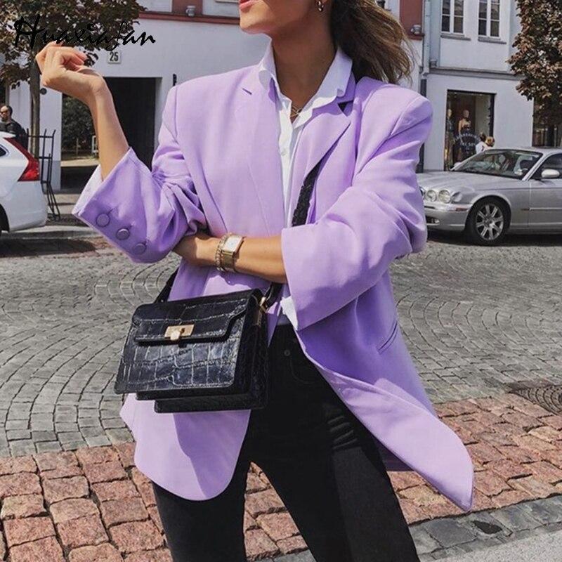 Huaxiafan Streetwear Blazers Women Blazer Jackets Coat Purple Button Long Sleeve Autumn Coat Vintage Fashion Office Lady Blazers