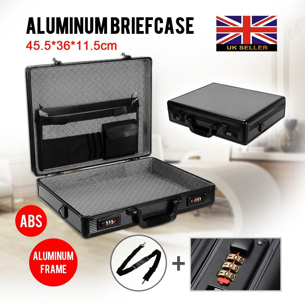 Mayitr 1pc Black Aluminium Briefcase Executive Laptop Brief Flight Case Storage Box Bag 455*360*115mm For Document Equipment