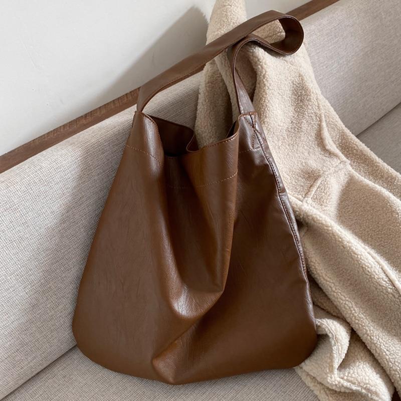 Burminsa Soft Large Capacity Women Shoulder Bags Wide Strap Female Shopper Bags Causal High Quality Work Ladies Handbags 2020
