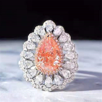 dual use natural diamond jewelry 18k real gold 2.0ct VS fancy light pink diamond ring necklace pendant 2