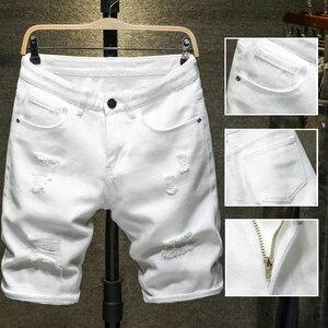 Мужские джинсовые шорты с дырками, белые, черные повседневные облегающие шорты-бермуды длиной до колен с прямыми дырками, лето 2019