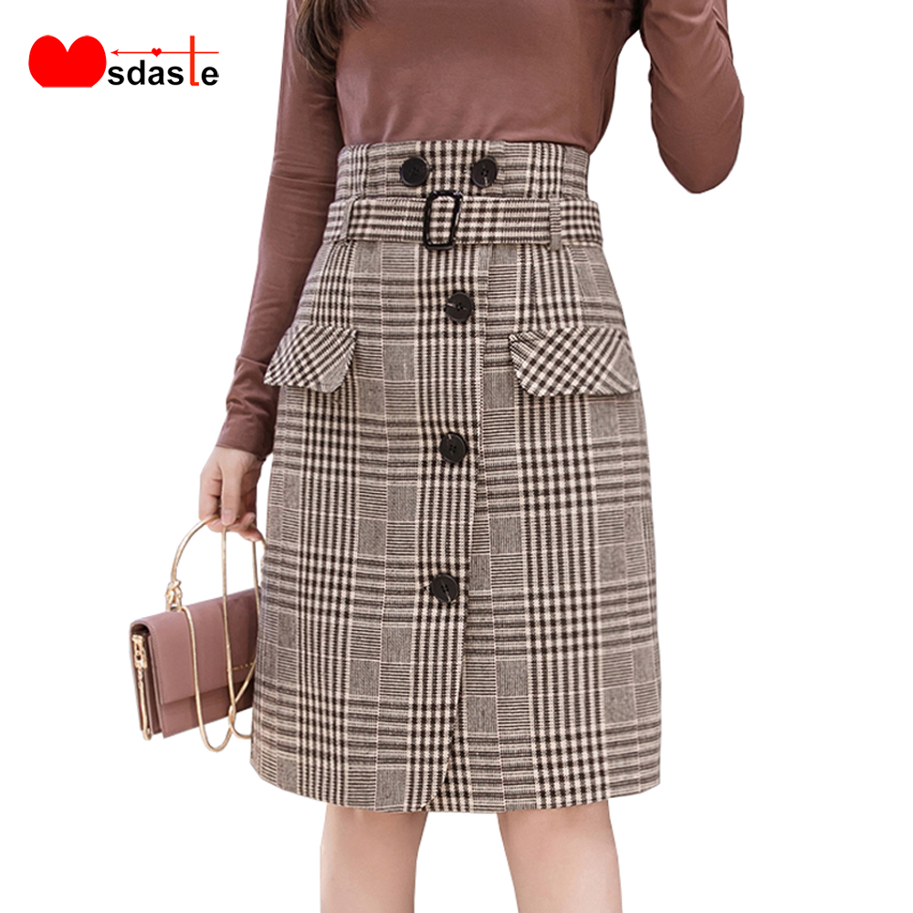 Elegant Plaid Skirt For Women Autumn Winter Office Female High Waist Retro Medium Long Woolen Faldas Mujer Moda Ladies Skirts