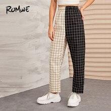 ROMWE Two Tone Plaid Elastic Waist High Waist Pants Women Autumn Streetwear Sweat Pants  Highstreet Loose Pants 2019 Clothes frilled tie waist plaid pants