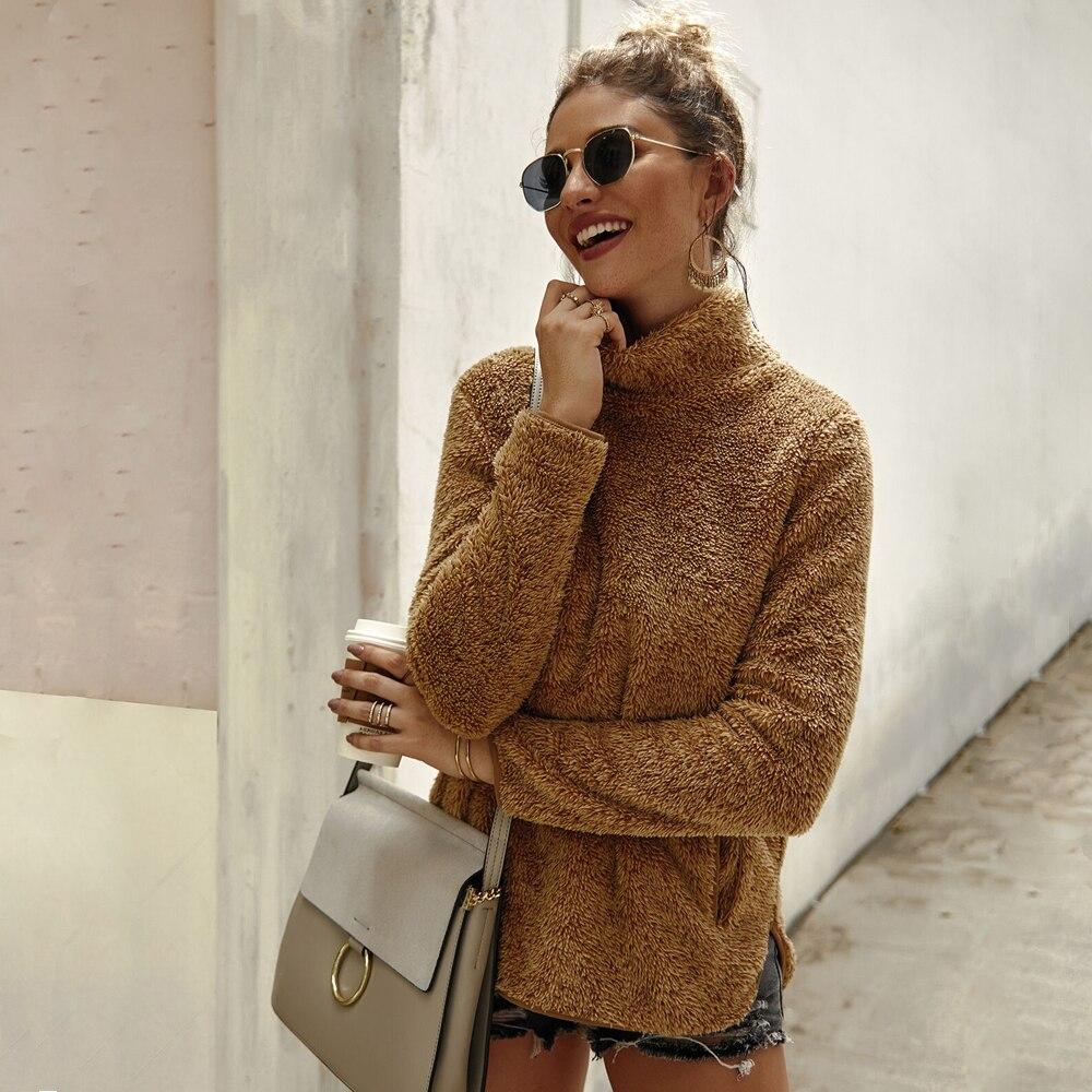 Women Ladies Winter Turtleneck Sweater Fur Long Sleeve Tops Winter Warm Sweater Fluffy Pullover Coat