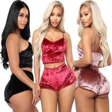 2020 New Hirigin Women's Solid Underwear Sexy Lingerie Pajamas Velvet Crop Tops Bralette Panty Sets