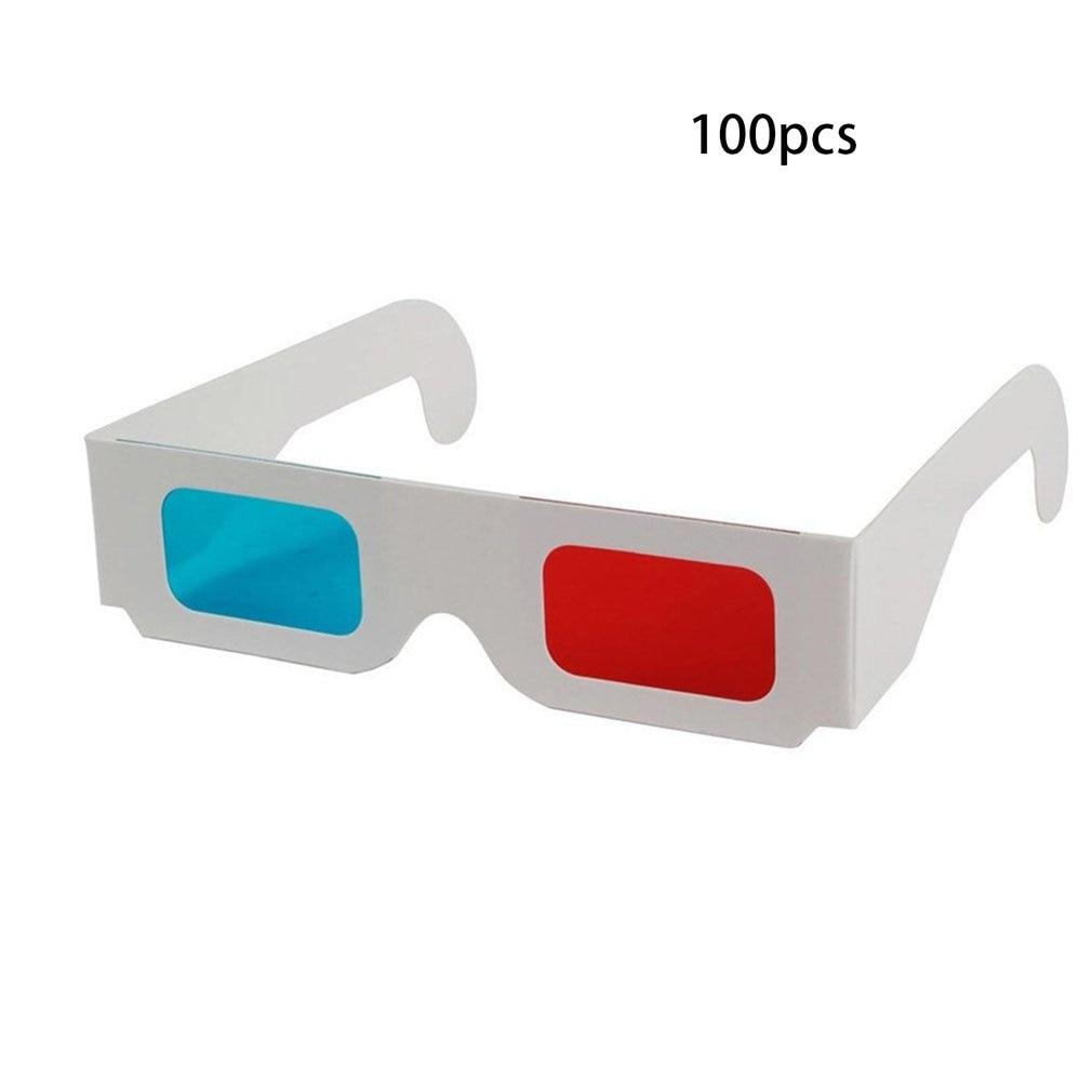 100pcs/lot Universal Paper Anaglyph 3D Glasses Paper 3D Glasses View Anaglyph Red/Blue 3D Glass For Movie Video EF