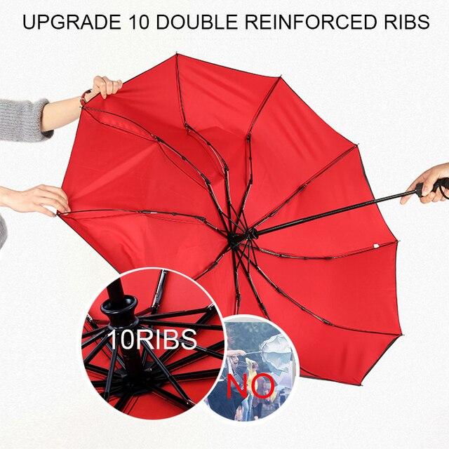 Double Layer Windproof Women's Automatic Umbrella Female Male Ten Bone Three Folding  Men's Umbrella Large Rain Business Parasol 3